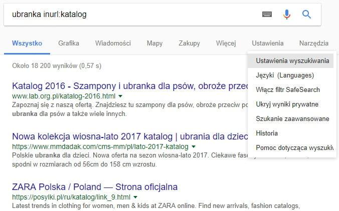 ustawienia wyszukiwania