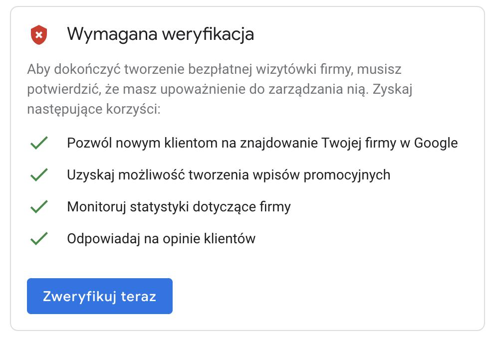 Google Moja Firma - weryfikacja wizytówki